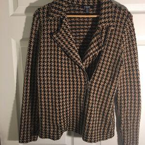 Houndstooth brown & black zipper jacket sweater